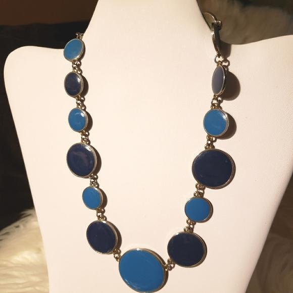 Blue circle statement necklace